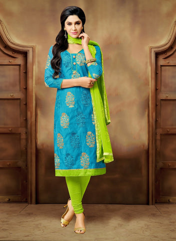 Sky Blue Color Chanderi UnStitched Salwar  - CKMK101013B