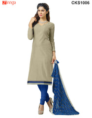 Grey and Blue Color Banarasi Chanderi Dress Material