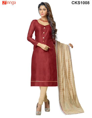 Beige and MaroonColor Banarasi Chanderi Dress Material  - CKS1008