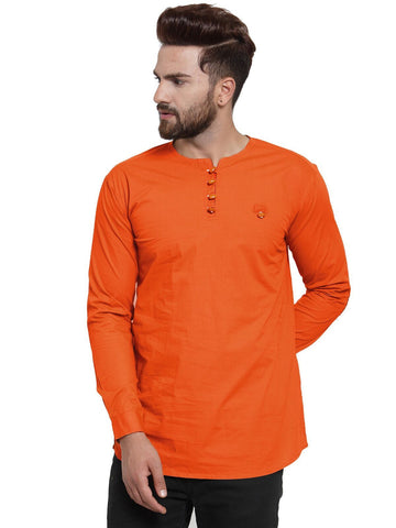 Orange Color Cotton Men's Shirt  - CM-KR26