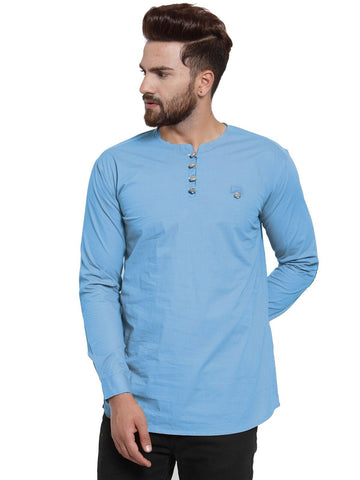 Sky Blue Color Cotton Men's Shirt  - CM-KR27