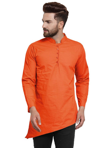 Orange Color Cotton Men's Shirt  - CM-KR31