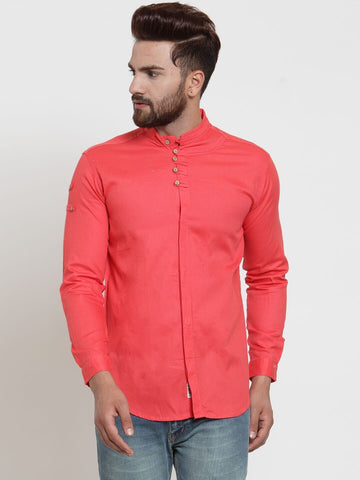 Gajri Color Cotton Men's Shirt  - CM-ST45