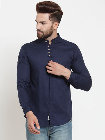 Navy Blue Color Cotton Men's Shirt  - CM-ST46