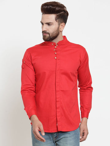 Red Color Cotton Men's Shirt  - CM-ST50