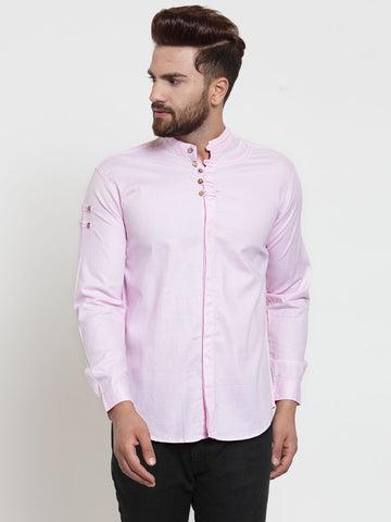 Pink Color Cotton Men's Shirt  - CM-ST51