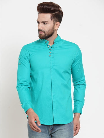 Green Color Cotton Men's Shirt  - CM-ST85