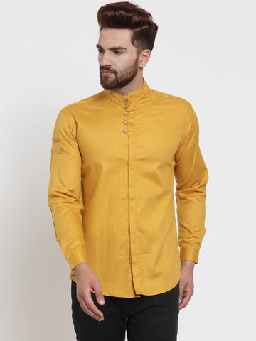 Mustard Color Cotton Men's Shirt  - CM-ST86