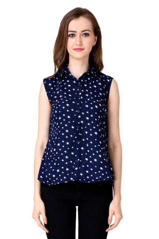 Blue Color Crepe Top - CMS-WT-003-BLUSTR