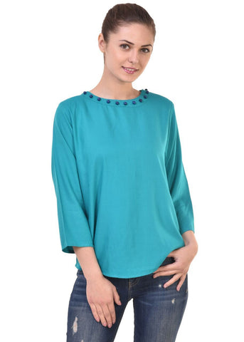 Blue Color Crepe Georgette Top - CMS-WT-007-BLUBDS