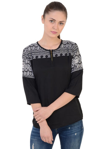 Black Color Crepe Georgette Top - CMS-WT-008-HFPRBLK