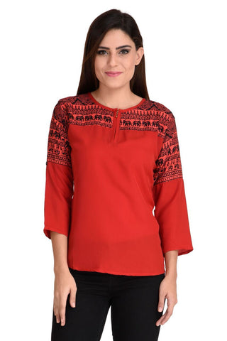 Red Color Crepe Georgette Top - CMS-WT-009-HFPRRD