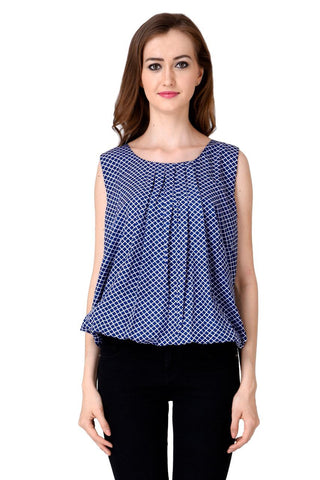 Blue Color Crepe Top - CMS-WT-010-BALBLU