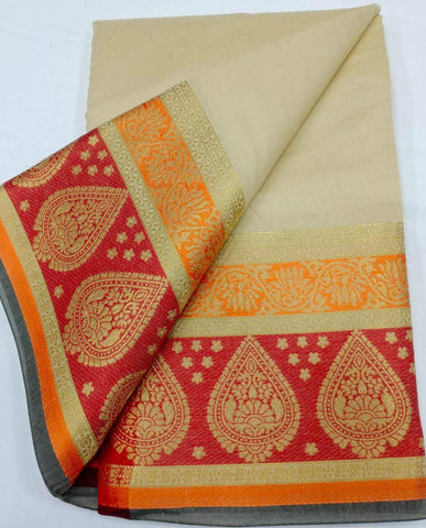CHIKKU-RED Color Heavy silk Dyeing material Saree - COTTON SILK-01