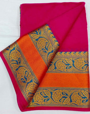PINK-ORANGE Color Heavy silk Dyeing material Saree - COTTON SILK-03