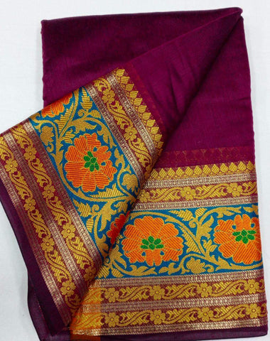 MAGENTA-ORANGE Color Heavy silk Dyeing material Saree - COTTON SILK-04
