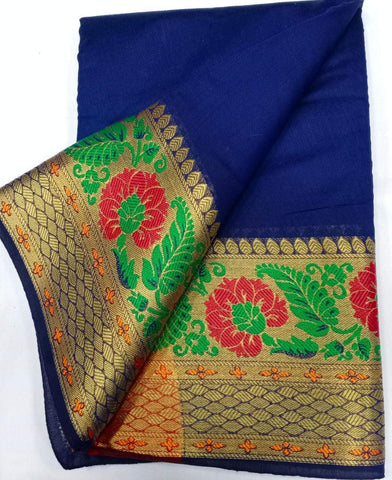 NAVY BLUE-GREEN Color Heavy silk Dyeing material Saree - COTTON SILK-05