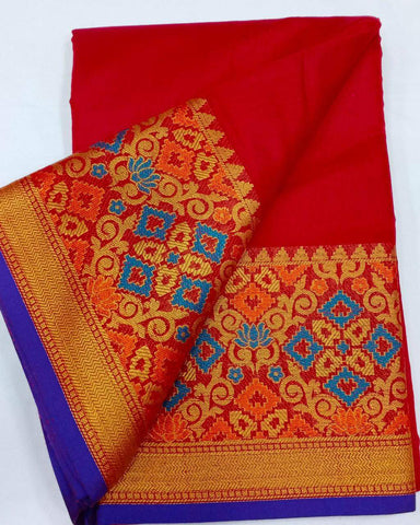 RED-BLUE Color Heavy silk Dyeing material Saree - COTTON SILK-09