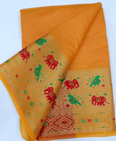 YELLOW-RED Color Heavy silk Dyeing material Saree - COTTON SILK-10