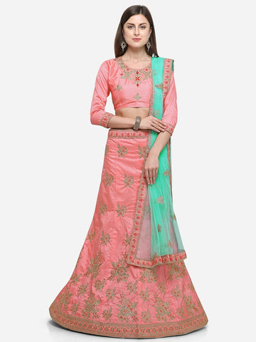 Pink Color Silk Satin Women's Semi Stitched Lehenga - CRLT34101