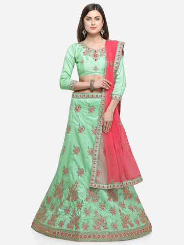 Green Color Silk Satin Women's Semi Stitched Lehenga - CRLT34102