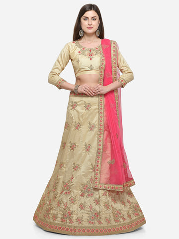 Beige Color Silk Satin Women's Semi Stitched Lehenga - CRLT34103