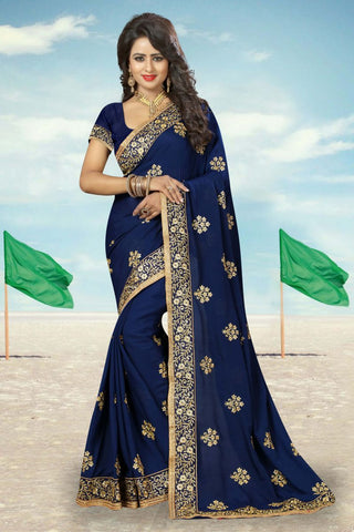 Navy Color  Georgette Saree  - CRYSTAL-805