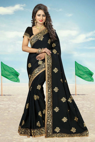 Black Color Georgette Saree - CRYSTAL-807