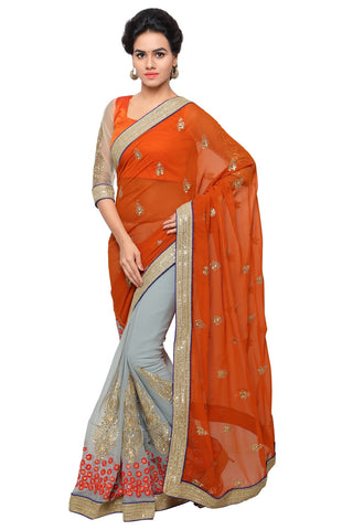 Orange and Grey Color Faux Georgette Saree - CTSSUHR13908