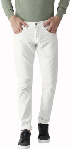 Calcium Slim Men's White Denim Jeans - CalciumWhite14