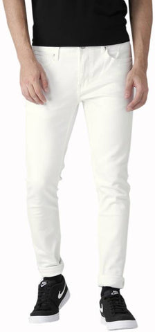 Calcium Slim Men's White Denim Jeans - CalciumWhite15
