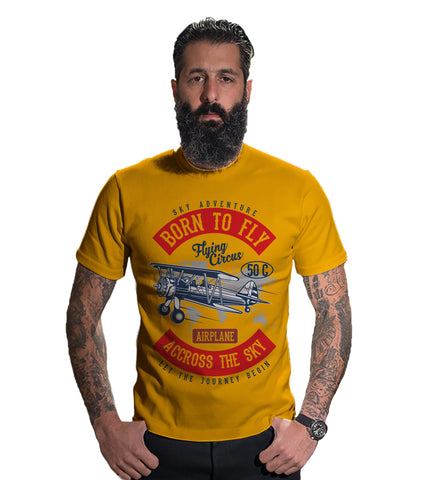 Dark Yellow Color 160 GSM And Cotton Mens Tshirt - CapsulaBorntoFly