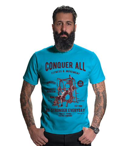 Turquoise Color 160 GSM And Cotton Mens Tshirt - CapsulaConquerAll