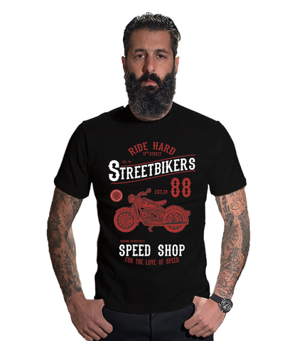 Black Color 160 GSM And Cotton Mens Tshirt - CapsulaStreetBiker