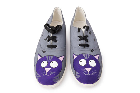 Multi Color  Canvas Unisex Shoe - Cat-Hand-Painted-Lace-2