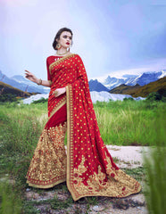 RoyalRed and Cream Color SilkJacquard and Georgette Saree