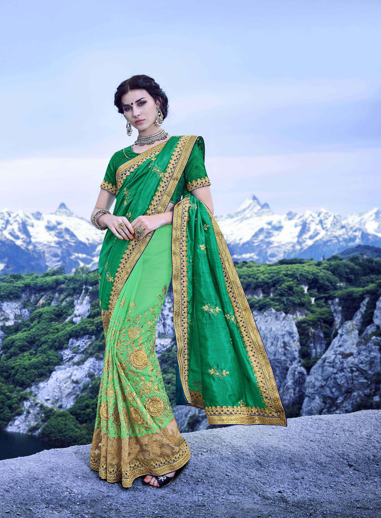 Pista Green Color C/N Sana Georgette Saree