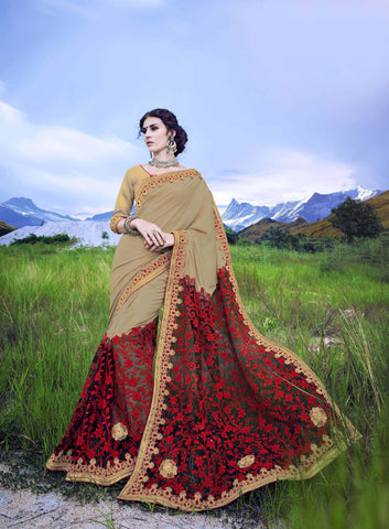 Beige and Maroon Color Dotted Georgette Saree - Cat2066 - 23593