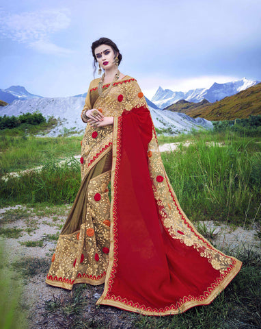 Beige,Red and Mahendi Color Moss Chiffon and Foli Lycra  Saree - Cat2066 - 23595