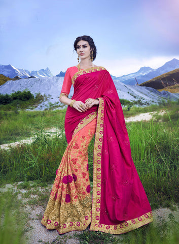 Pink and LightPink Color C/N Sana Georgette Saree - Cat2066 - 23596