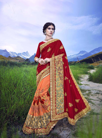 LightOrange and Maroon Color C/N Sana Georgette Saree - Cat2066 - 23597