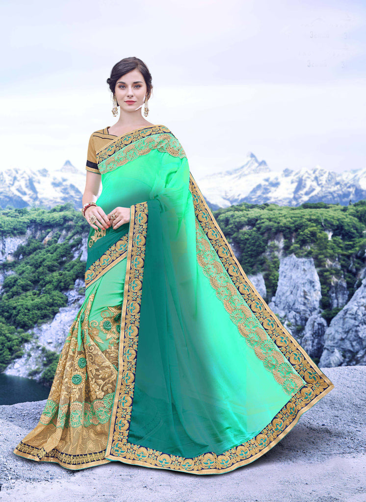 SkyGreen Color Padding Mos Chiffon Georgette Saree