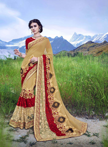 Beige Color Checked Marble  Saree - Cat2066 - 23599