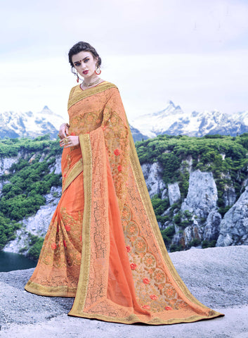 Light Oange Color Pure Georgette Saree - Cat2066 - 23600