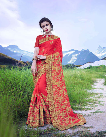 Royal Red Color Moss Georgette Saree - Cat2066 - 23601