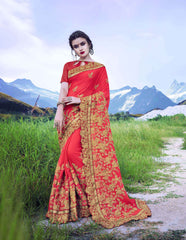 Royal Red Color Moss Georgette Saree