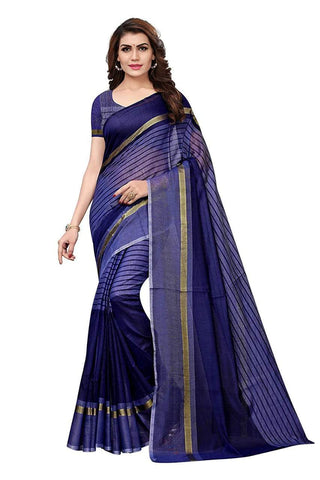 Navy Blue Color Chanderi Cotton Saree  - Chanderi-Cotton-10