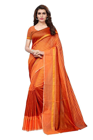 Orange Color Chanderi Cotton Saree  - Chanderi-Cotton-1