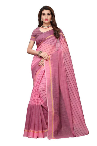Pink Color Chanderi Cotton Saree  - Chanderi-Cotton-3