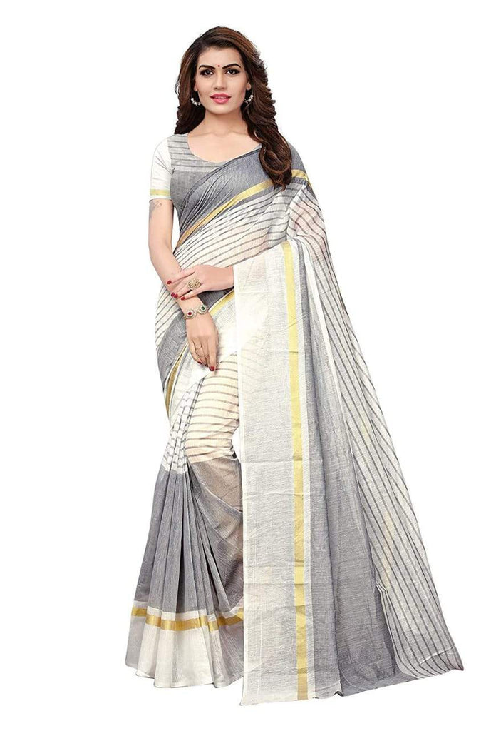 Buy Green Color Chanderi Cotton Saree